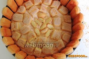 Заливаем половину крема. Остальное печенье ломаем на кусочки, так же окунаем в сироп и выкладываем сверху.