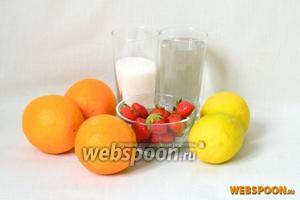 Для приготовления оранджада возьмём воду, апельсины, лимон, клубнику, сахар.