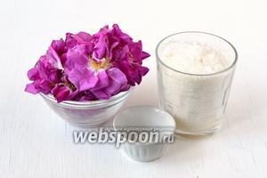 Для приготовления розы, перетёртой с сахаром нам понадобится сахар, лимонная кислота, лепестки чайной розы.