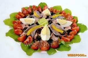 Украшаем салат филе анчоуса и четвертинками свареного вкрутую яйца, поливаем соусом и подаем немедленно. Салат предлагают как стартер в начале обеда и даже как основное блюдо.