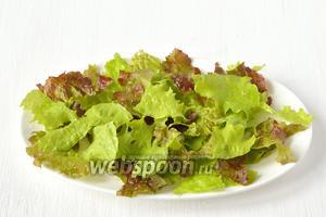 Салат помыть, порвать руками и разложить на тарелке.