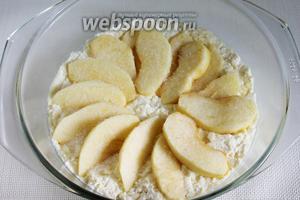 Дольки яблока выложить на поверхность творожного теста по кругу.