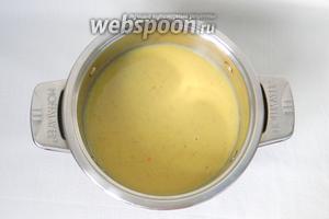 Готовый суп охладить и взбить в блендере.