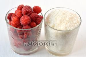Для приготовления малины в собственном соку нам понадобится сахар и малина.