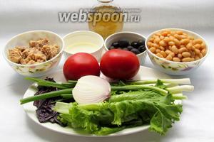 Для приготовления салата с горбушей нам потребуются: горбуша в собственном соку, фасоль белая консервированная, маслины, помидоры, салат, лук зелёный и репчатый, базилик, уксус.