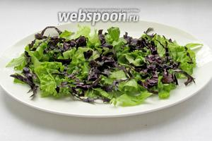На блюдо выложить нарезанный салат, базилик и немного зелёного лука.