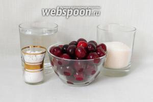 Для приготовления вишневого киселя возьмём воду, вишни, сахар, крахмал.