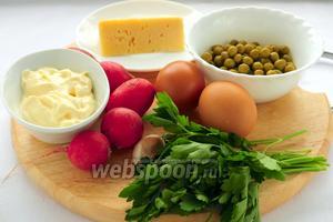 Для приготовления салата вам понадобятся: сыр, редис, чеснок, варёные яйца, консервированный горошек, зелень петрушки, чёрный перец, соль и майонез.