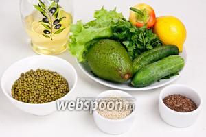 Для приготовления салата понадобится маш, огурцы, салат айсберг или любой другой, авокадо, петрушка, сладкий перец, лимонный сок, семена льна, кунжут, соль, перец и масло оливковое для заправки.