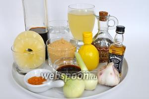 Подготовим продукты которые, понадобятся для приготовления соуса: чеснок, масло, виски, специи, соус соевый и терияки, лук.