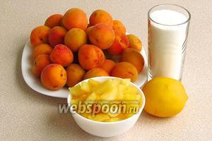 Для приготовления варенья нужно взять зрелые, но достаточно крепкие абрикосы, консервированные ананасы кусочками, лимон и сахар.