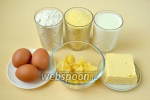 Для приготовления пирога нам понадобится мука двух видов (пшеничная и кукурузная), сливочное масло, мёд, молоко, яйца, сода или разрыхлитель. Для пропитки — конфитюр или сироп.