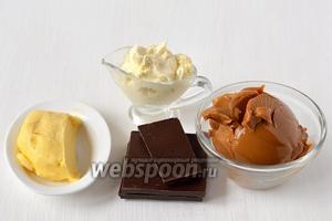 Для приготовления крема нам понадобится чёрный шоколад, сливки, сливочное масло, варёное сгущённое молоко.