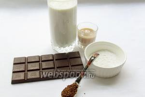 Начинаем выпечку с приготовления крема. Нам понадобятся такие продукты: сливки 35% жирности, сахарная пудра, шоколад, ликёр, растворимый кофе.