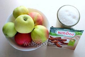 Для приготовления вам понадобятся: свежие садовые кисло-сладких сортов яблоки, сахар-песок, палочка корицы и немного горячей воды.