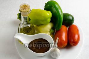 Для приготовления блюда нам понадобится  соус Тэрияки , овощи: цукини, помидоры сорта сливка, перец, чеснок, кунжутное (можно любое) масло.