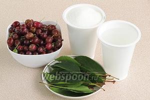 Для приготовления варенья нужно взять слегка недоспелый розовый крыжовник, одинаковый по величине, сахар, воду и вишнёвые листья.