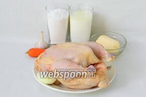 Для приготовление галушек с курицей и чесноком возьмём муку, кефир, курицу домашнюю, лук, морковь, чеснок, масло сливочное, соль, перец по вкусу.