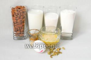 Для приготовления бадамбура возьмём муку, молоко, растопленное сливочное масло, сахар, дрожжи, яйцо, сметану, миндаль, кардамон, соль.