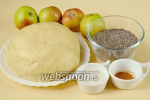 Для приготовления пирога нам нужно заранее приготовленное  «холодным» способом дрожжевое тесто , яблоки, сахар, корица, маковая начинка.