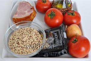 Для приготовления закуски понадобится: помидоры, киноа, бекон, лук, масло растительное, вода или бульон, приправы.