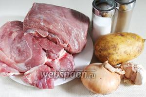 Для приготовления фарша возьмём свинину и говядину, картофель, лук, чеснок, перец чёрный молотый, соль.