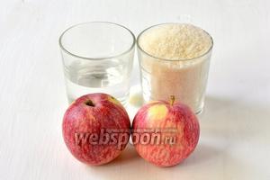 Для приготовления яблочного пюре нам понадобятся яблоки, сахар, вода.