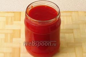 Разлить соус в стерильные банки ёмкостью 0,5 л.