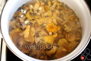 Опустить отваренные грибы в маринад и проварить 15-20 минут.