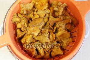 Когда грибы сварятся и осядут на дно, откинуть их на дуршлаг и промыть холодной водой, дать воде стечь. Грибной отвар можно использовать для приготовления супов и соусов, хранится в холодильнике 2-3 дня. При желании его можно законсервировать.