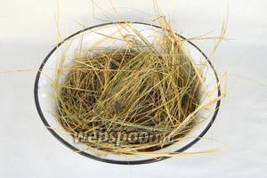Большую часть сена выкладываем на дно глубокой миски или жаровни. Сбрызгиваем оливковым маслом, посыпаем солью и перцем (можно добавить сухих трав по желанию).