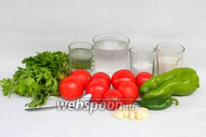 Для заготовки малосольных помидоров надо вода, помидоры, уксус, соль, сахар, перец сладкий, перец горький, чеснок, петрушка, листья хрена, укроп, аспирин в порошке.