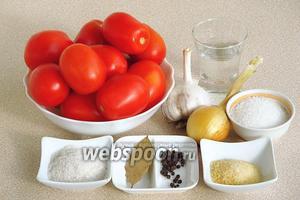 Для приготовления заготовки нужно взять крепкие зрелые помидоры сливовидной формы небольшого размера, репчатый лук, чеснок, лавровый лист, чёрный перец горошком, соль, сахар, воду, желатин и уксус 9% концентрации.