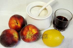 Для приготовления конфитюра нужно взять персики, сахар, лимоны, коньяк.