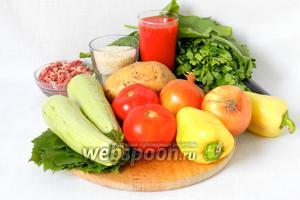 Для приготовления иракской долмы возьмём говяжий фарш, рис, томатный сок, томатную пасту, баклажаны, сладкий перец, лук, помидоры, картофель, кабачки, петрушку, щавель, виноградные листья, соль, специи по вкусу.