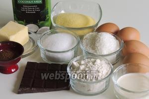 Подготовим ингредиенты: кокосовое молоко, молоко , кокосовую стружку, манную крупу, яйца, масло, сахар, муку, разрыхлитель, шоколад, растворимый кофе.