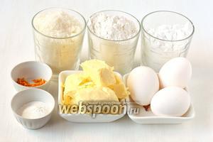 Для приготовления райского бисквита нам понадобится сливочное масло, сахар, мука, крахмал, яйца, апельсиновая цедра, разрыхлитель.