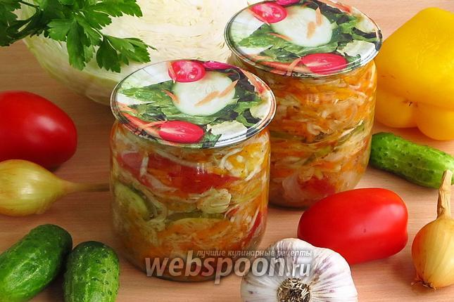 рецепт салата из помидоры, маринованные огурцы и салат