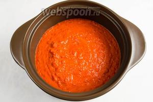 Пюре из овощей выложить в кастрюлю. Варить в течение 15 минут, все время помешивая. Посолить.