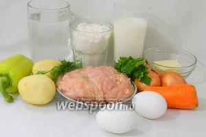Для приготовления картофельного супа с ленивыми пельменями возьмём воду или бульон, картофель, лук, морковь, сладкий перец, сливочное масло, яйца, зелень, куриный фарш, муку, кефир, соль, перец по вкусу.