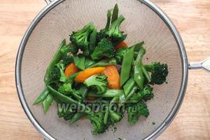 Если вы планируете использовать овощи как гарнир к горячему блюду, тогда овощи дойдут до нужной готовности сами. Просто откиньте их на сито и выложите на тарелку.