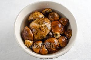Сухие грибы тщательно очистить с помощью щетки. Отделить  ножки от шляпок. (Из ножек грибов можно приготовить  икру из грибов . Помыть шляпки под потоком холодной воды. Замочить на 10 минут. Снова промыть. Можно сразу нарезать грибные шляпки дольками, а можно ещё дополнительно отварить с луковицей в течение 15-20 минут.