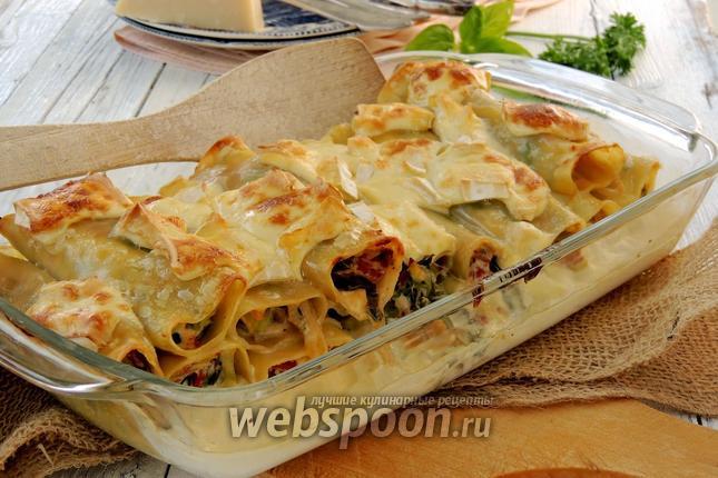 Фото Каннеллони с сыром и луком-пореем