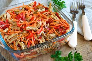 Острый салат с баклажанами и морковью