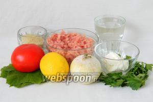 Для приготовления запечённой долмы в духовке возьмём свежие (консервированные) виноградные листья, фарш, рис, лук, помидор, сметану, воду, лимон, петрушку, соль, перец по вкусу.