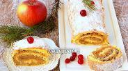 Фото рецепта Бисквитный рулет с яблочной начинкой