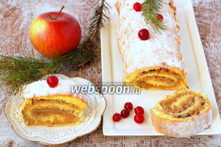 Рецепт Бисквитный рулет с яблочной начинкой