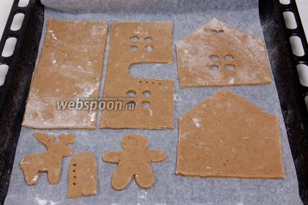 Застелить противень пергаментной бумагой и выпекать в духовке при температуре 180-200 °С до золотисто-коричневого цвета в течение 5-10 минут.