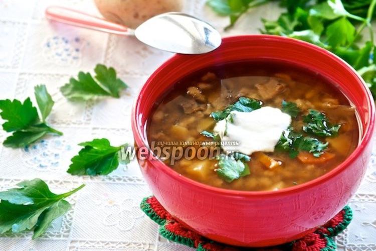 Фото Грибной суп с перловкой