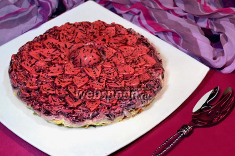 Фото Салат-торт «Селёдка под шубой в желе»